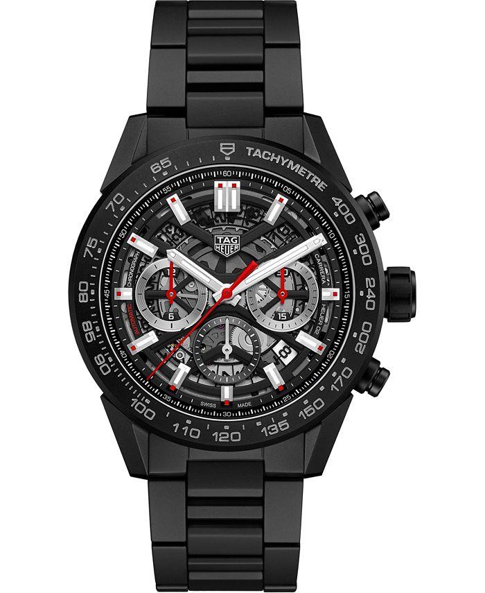 TAG Heuer - Men's Swiss Automatic Chronograph Carrera Black Ceramic Bracelet Watch 45mm