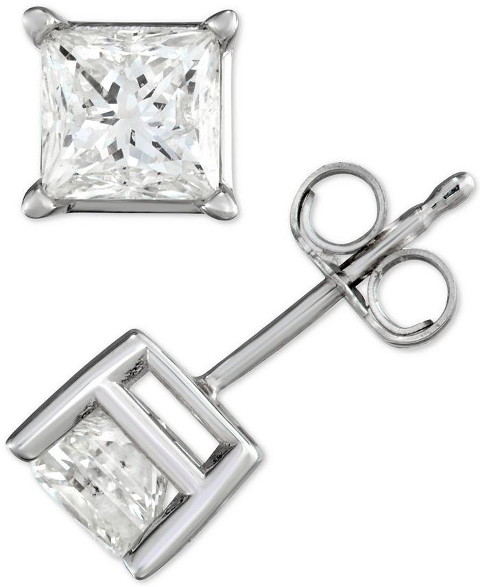 Macy's - Diamond Princess Stud Earrings (1-1/2 ct. t.w.) in 14k White Gold