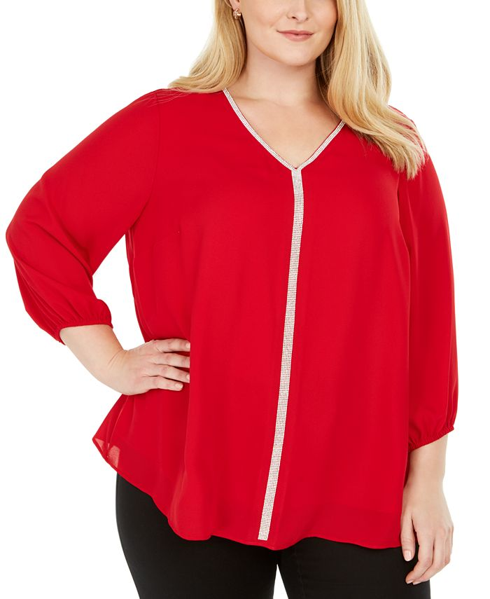 JM Collection - Plus Size Glitter-Stripe Top