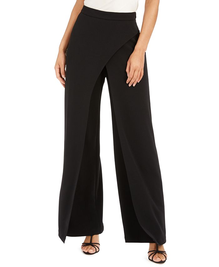 Adrianna Papell - Crepe Draped-Front Wide-Leg Pants
