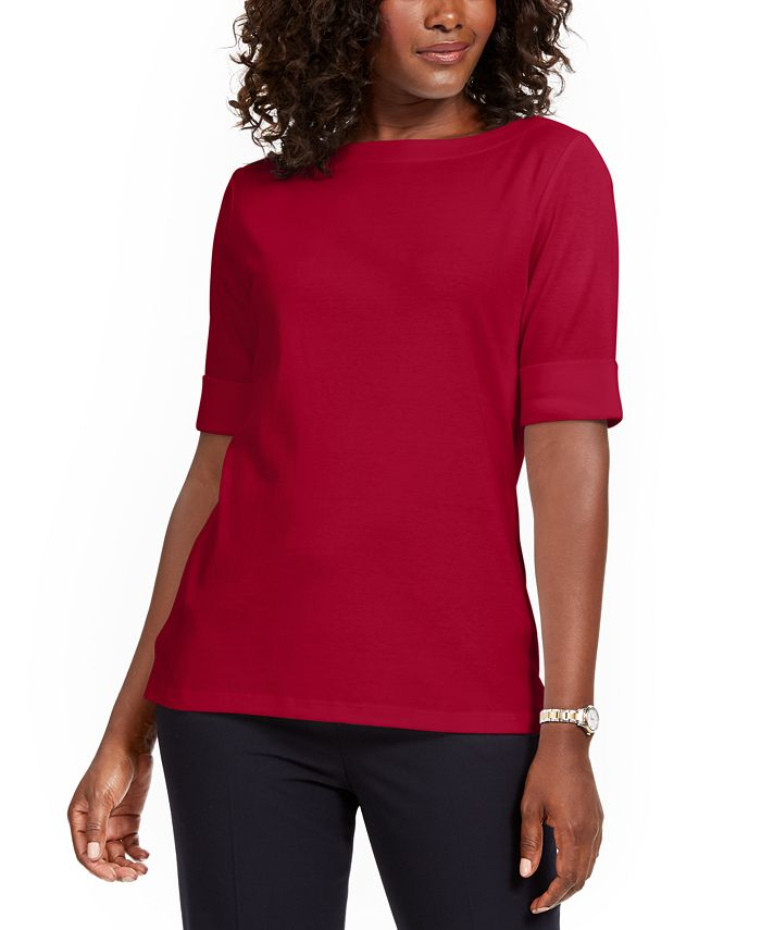 Karen Scott - Boat-Neck Elbow-Sleeve Top, Created For Macy's