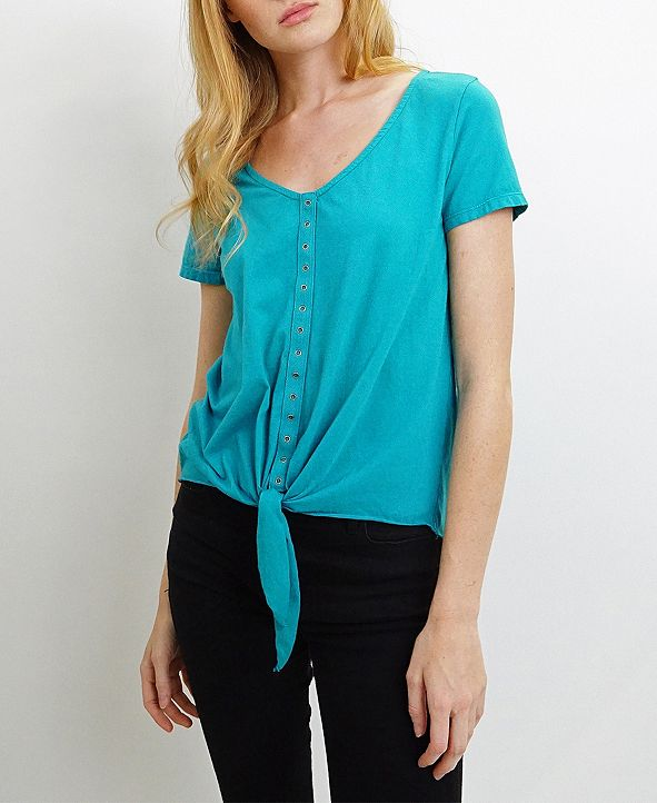 COIN 1804 Womens Cotton Short-Sleeve Eyelet Tie Front Tee