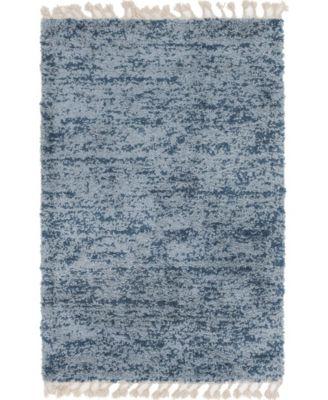 Lochcort Shag Loc3 Blue 5' x 5' Round Area Rug