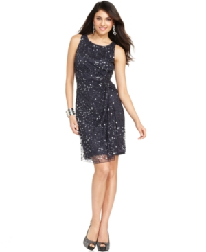 Patra Petite Dress, Sleeveless Sequined Cocktail Dress