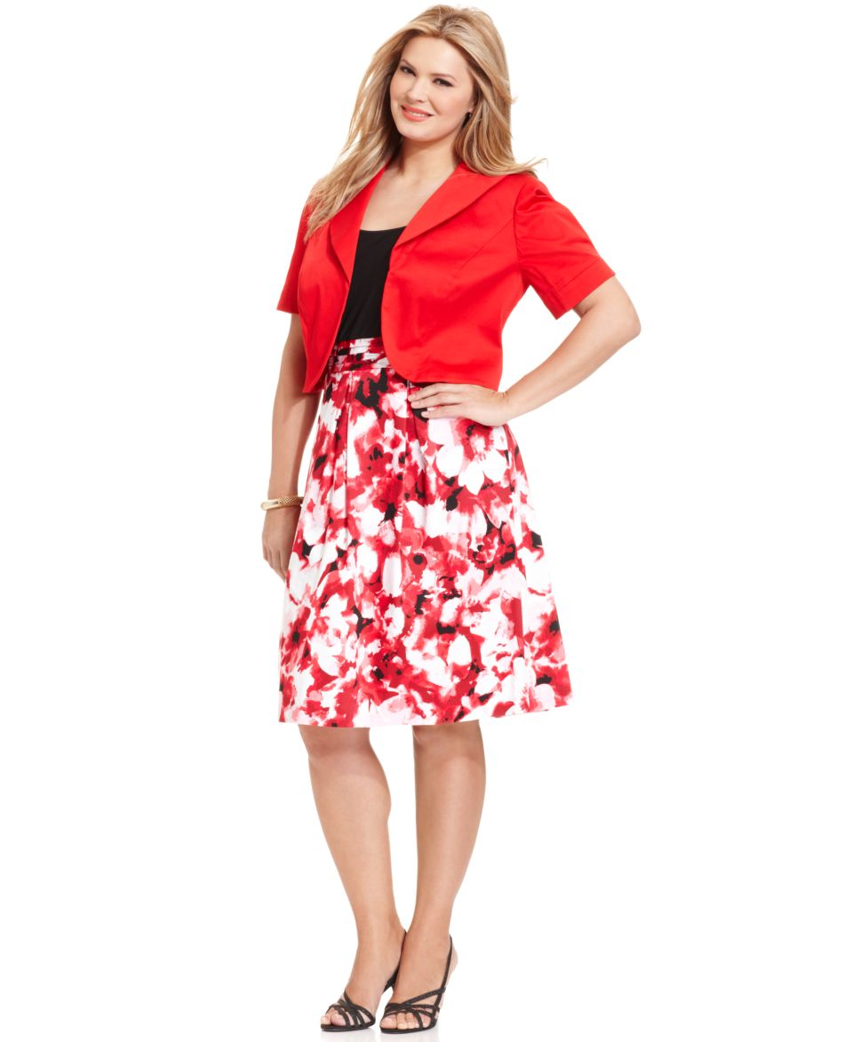 Le Bos Plus Size Dress and Jacket, Sleeveless Floral Print ...