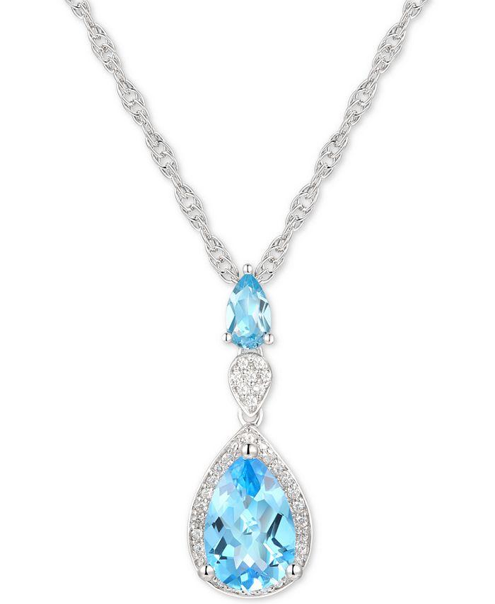 "Macy's - Blue Topaz (2 ct. t.w.) & Diamond (1/10 ct. t.w.) 18"" Lariat Necklace in Sterling Silver"