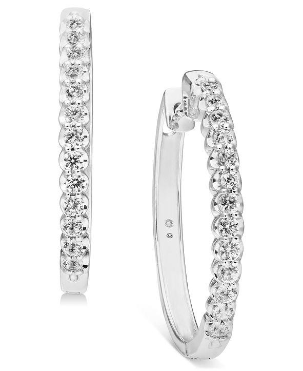 "Macy's Diamond Medium Hoop Earrings (1 ct. t.w.) in 10K white gold (Also available in 10k gold), 1.2"""
