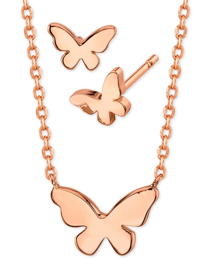 Unwritten Mini Butterfly Pendant Necklace and Stud Earrings in Rose Gold-Plate, Created for Macy's & Reviews - Fashion Jewelry - Jewelry & Watches - Macy's