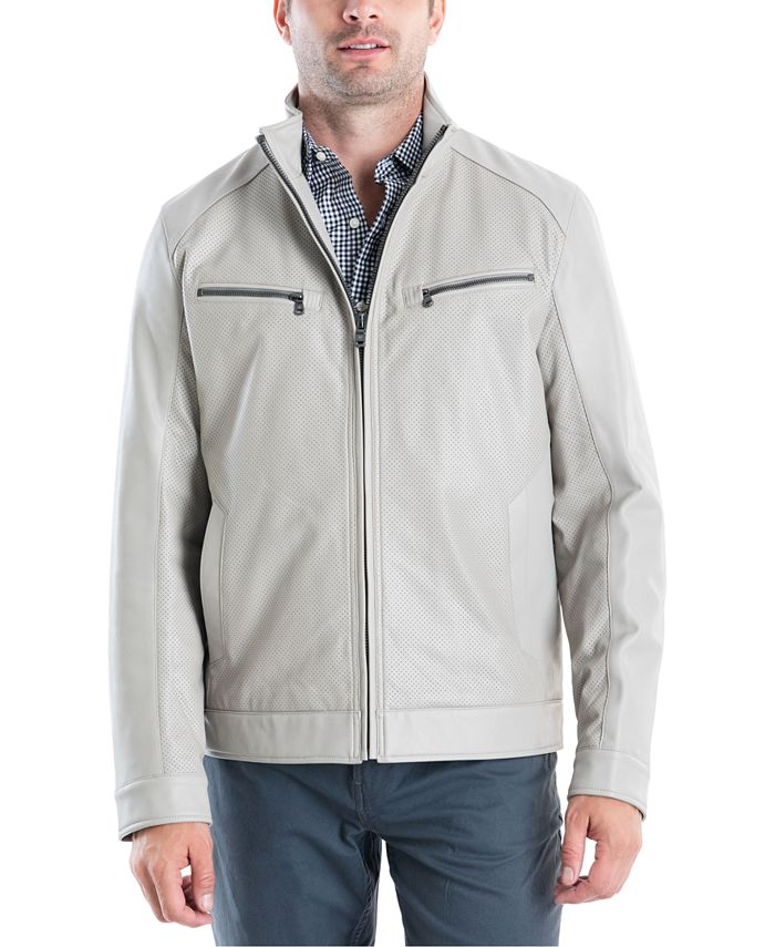 Michael Kors - Men's Perforated Faux-Leather Moto Jacket