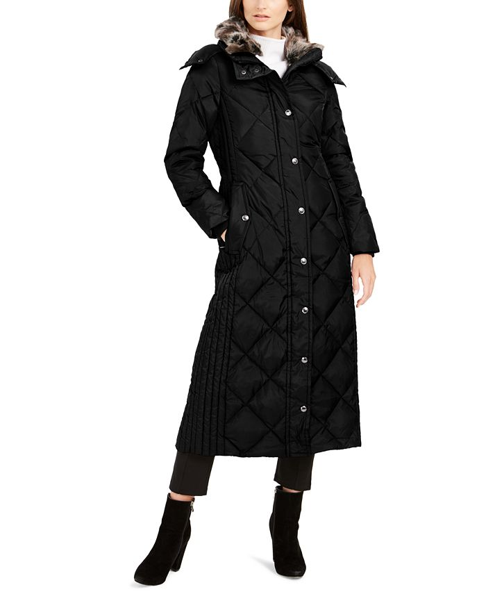 London Fog - Maxi Puffer Coat With Faux-Fur Trim