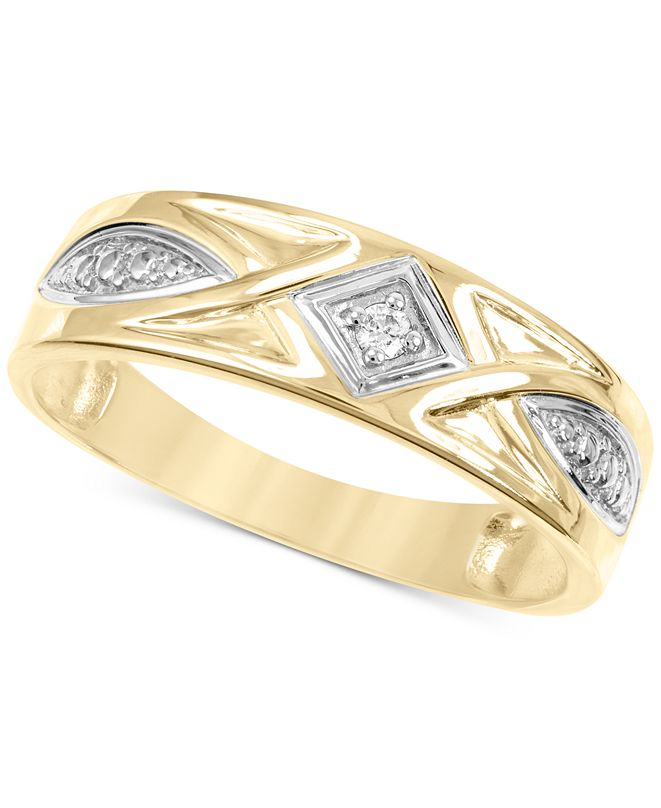 Macy's Men's Diamond Accent Band in 14k Gold