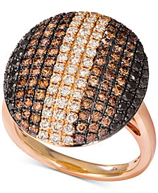 Le Vian® Chocolate Layer Cake® Diamond Statement Ring (1-7/8 ct. t.w.) in 14k Rose Gold