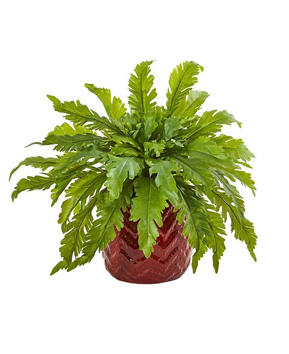 """Nearly Natural 14"""" Fern Artificial Plant in Red Vase"""