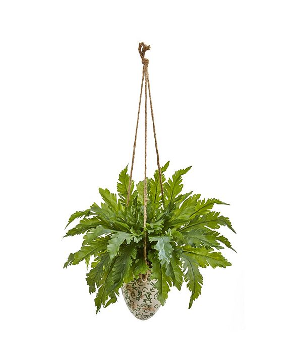 """Nearly Natural 29"""" Fern Artificial Plant in Hanging Vase"""