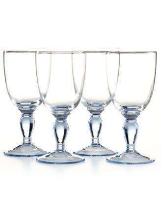 CLOSEOUT! Martha Stewart Collection Glassware, Set of 4 Geneva Blue All-Purpose Glasses