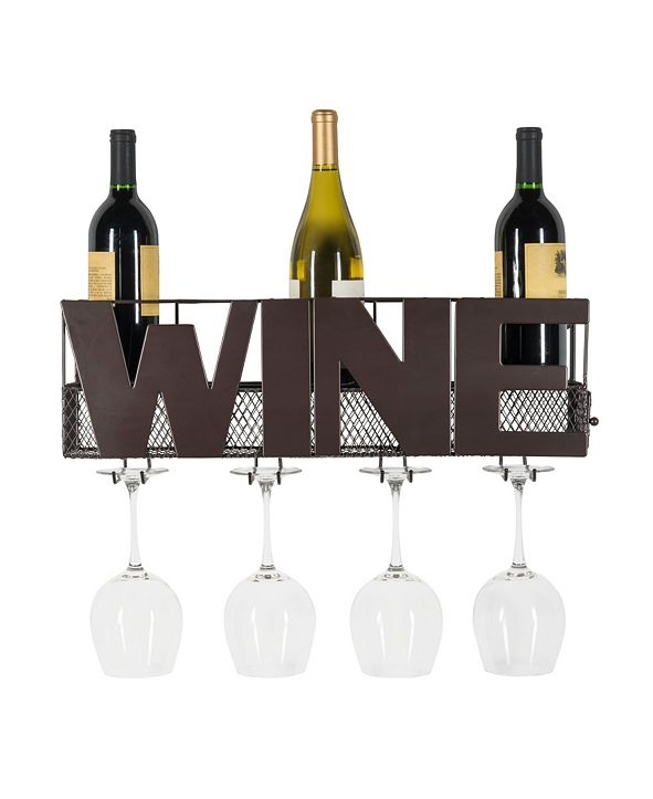 Danya B Decorative Wall Mount Wine Bottle and Long Stem Rack
