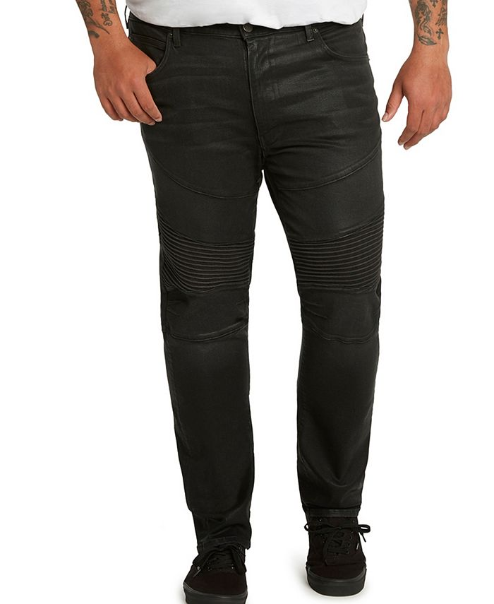"""Mvp Collections By Mo Vaughn Productions - MVP Collections Black Waxed Denim Biker Jeans, 34"""" inseam"""