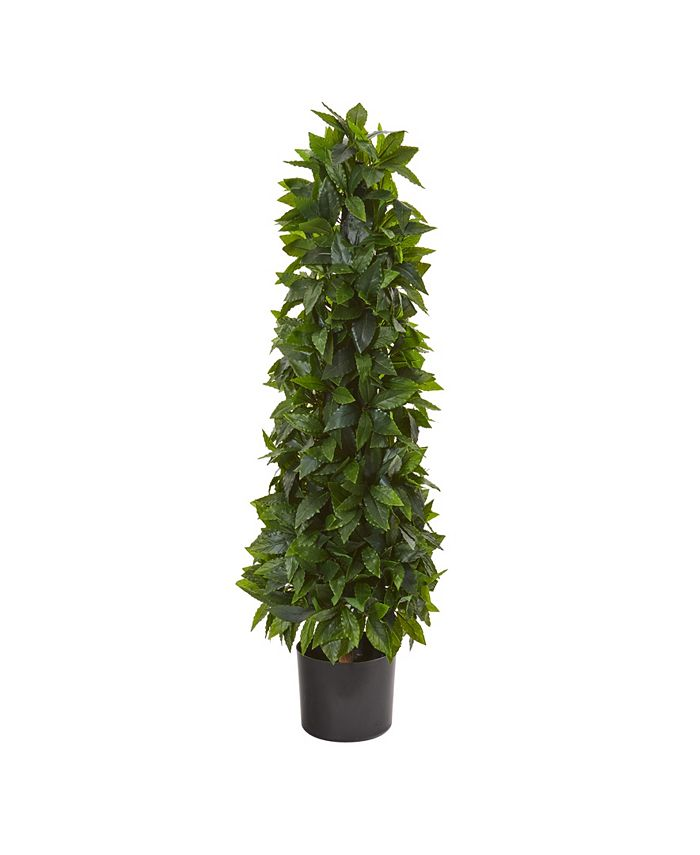 Nearly Natural - 3' Sweet Bay Cone Topiary Artificial Tree
