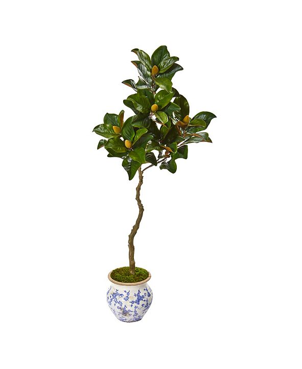 """Nearly Natural 57"""" Magnolia Artificial Tree in Vintage Floral Planter"""