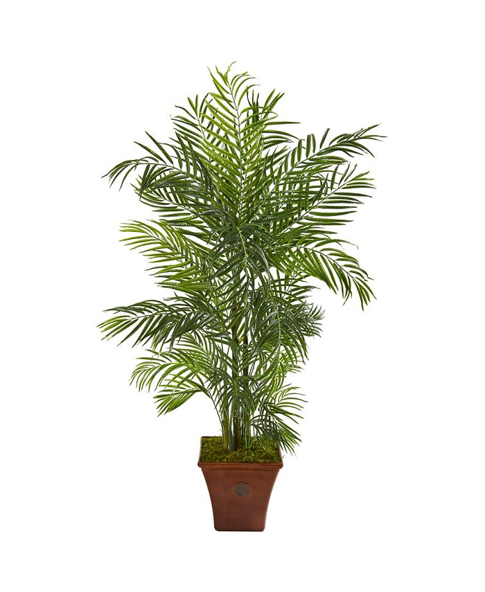 Nearly Natural - 5' Areca Artificial Palm Tree in Brown Planter UV Resistant Indoor/Outdoor