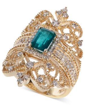 Emerald (9/10 ct. t.w.) and Diamond (3/4 ct. t.w.) Ring in 14k Gold