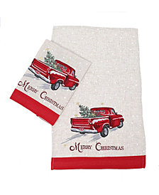 Manor Luxe Merry Christmas Truck Decorative Towels, Set of 2