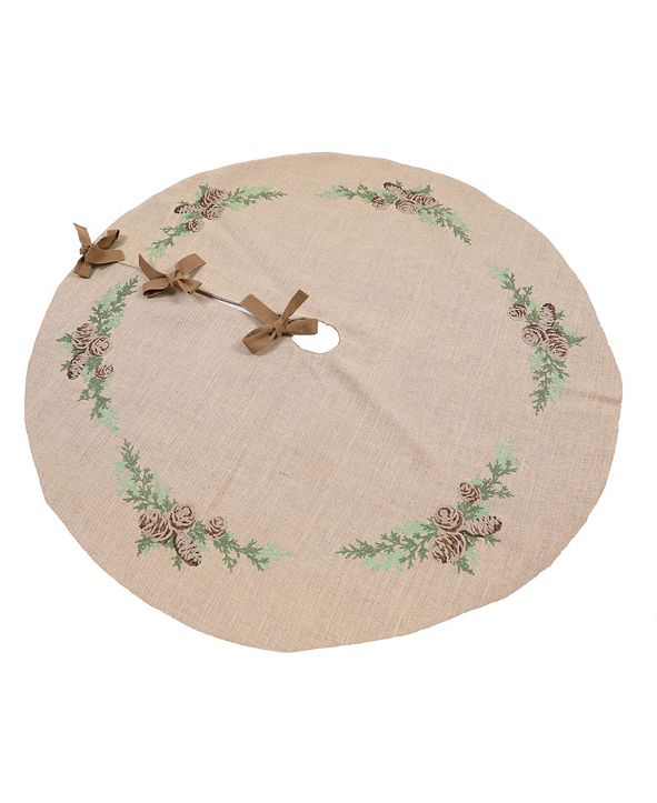 """Manor Luxe Winter Pine Cones and Branches Crewel Embroidered Tree Skirt 56"""" Round"""