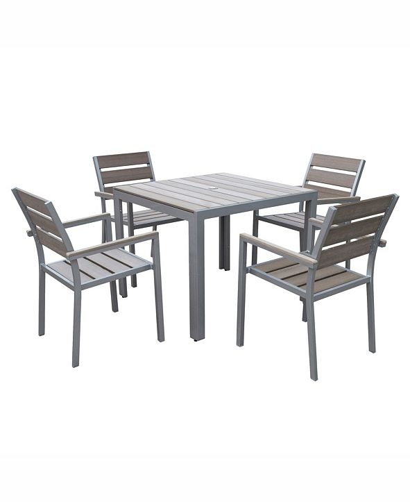 CorLiving Distribution Gallant 5 Piece Sun Bleached Outdoor Dining Set