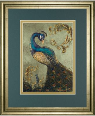 Peacock on Sage Il by Tiffany Hakimipour Framed Print Wall Art - 22