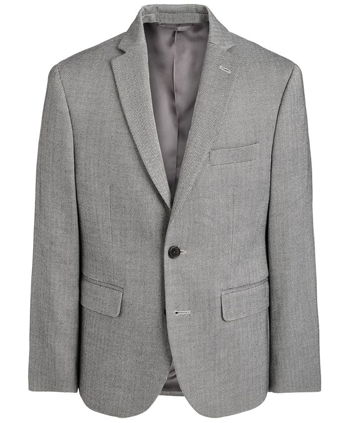 Lauren Ralph Lauren - Big Boys Classic-Fit Stretch Black/White Herringbone Sport Coat