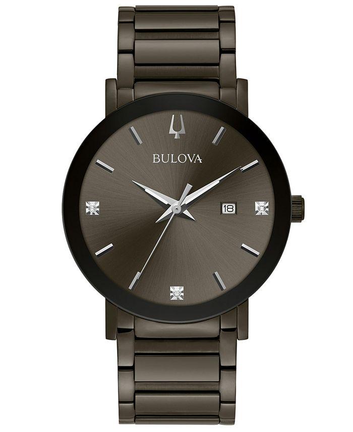 Bulova - Men's Millennia Diamond-Accent Gray Stainless Steel Bracelet Watch 42mm