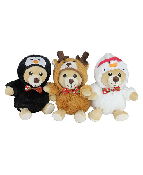 Set Of Dog Stuffed Animals, Northlight Set Of 3 Plush Teddy Bear Stuffed Animal Figures In Christmas Costumes 8 Reviews Holiday Shop Home Macy S