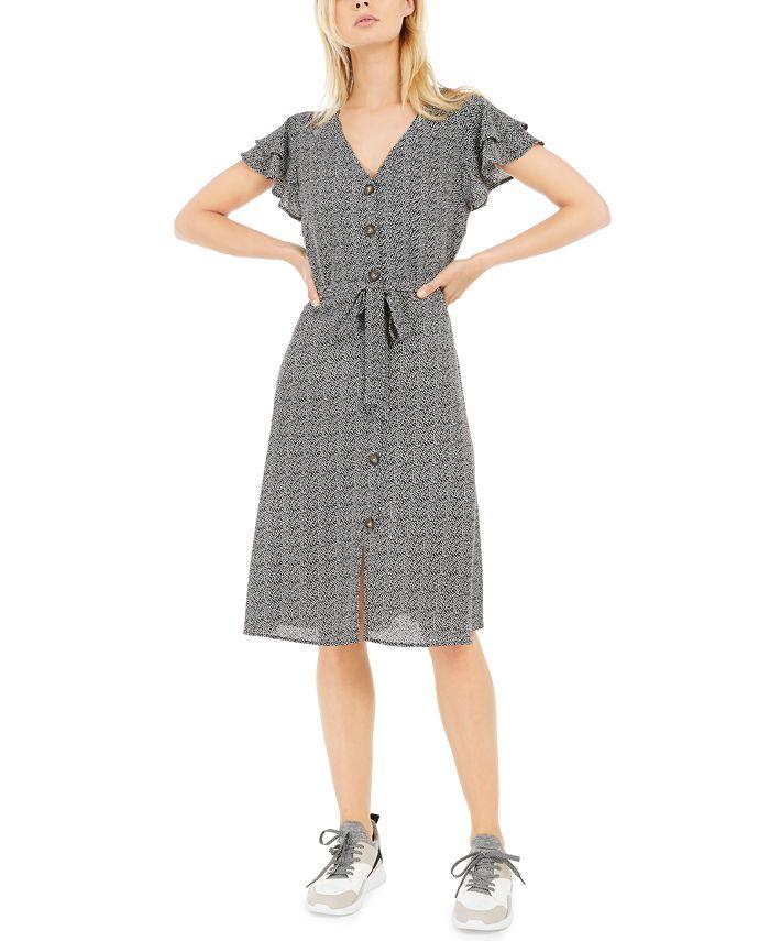 Monteau - Petite Printed Layered-Sleeve A-Line Dress