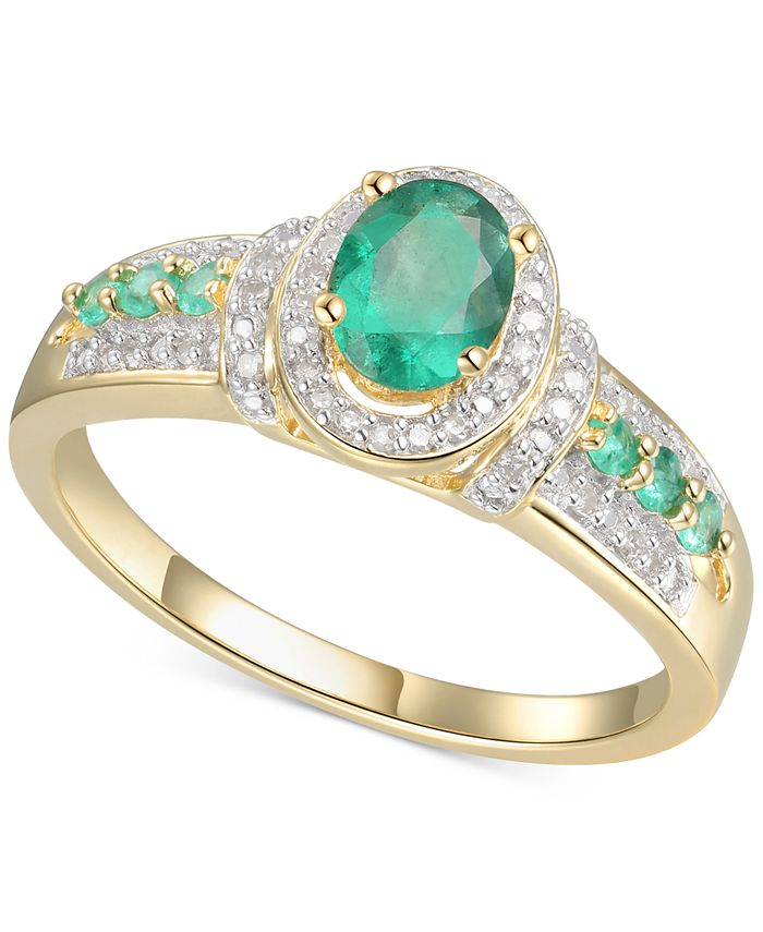 Macy's - Emerald (5/8 ct. t.w.) & Diamond (5/8 ct. t.w.) Statement Ring in 14k Gold Over Sterling Silver