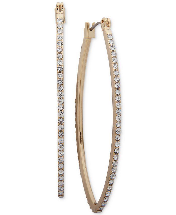 DKNY - Gold-Tone Pavé Hoop Earrings