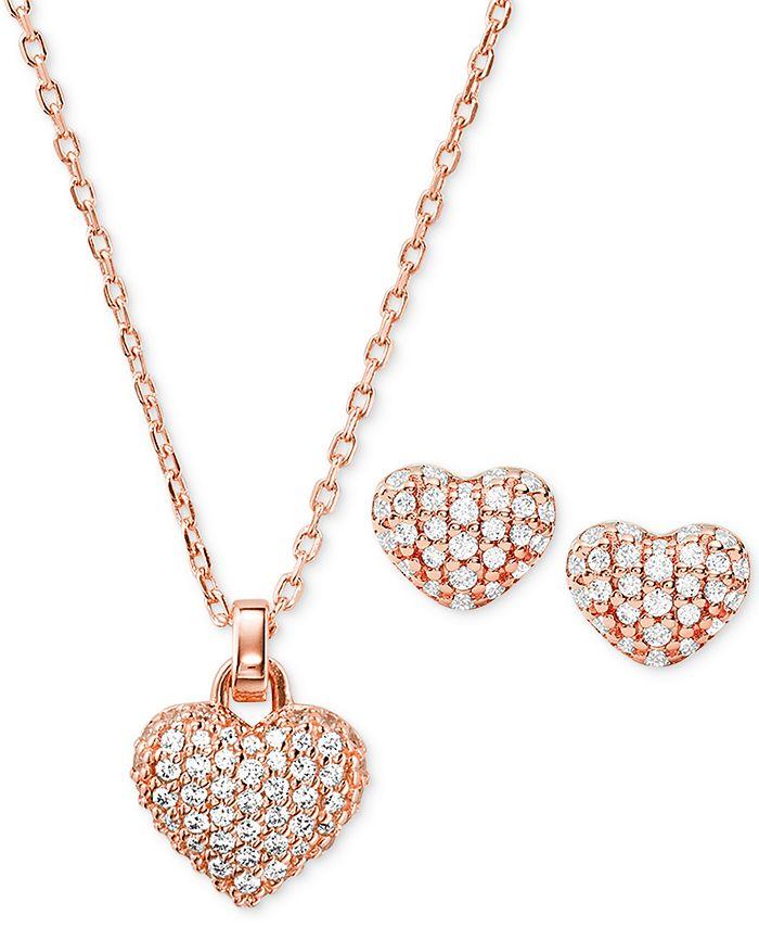 "Michael Kors - Sterling Silver Pavé Puffy Heart Pendant Necklace & Stud Earrings Set, 16"" + 2"" extender"