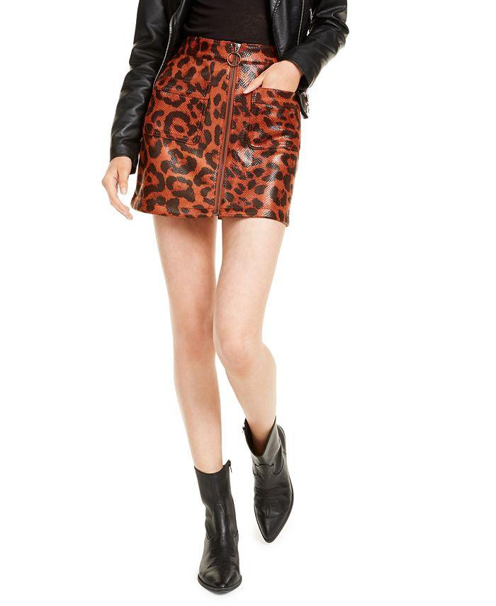 OAT - Leopard-Print Zip-Front Mini Skirt