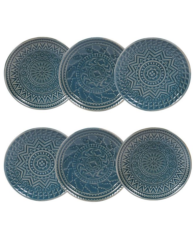 Certified International Aztec Teal 6-Pc. Canape Plates