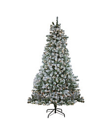 Northlight 7.5' Pre-Lit Flocked Winema Pine Artificial Christmas Tree - Clear Lights