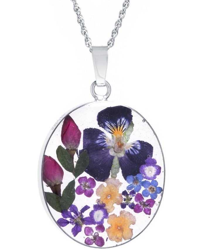 """Giani Bernini - Medium Oval Dried Flower Medal Pendant with 18"""" Chain in Sterling Silver. Available in Multi, Purple or Red"""