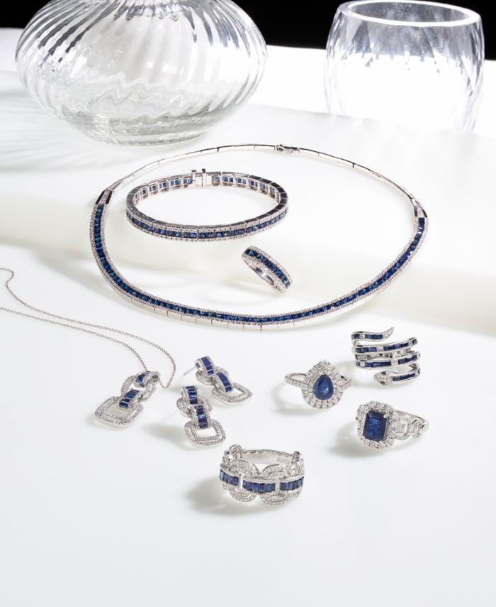 EFFY Collection EFFY® Sapphire (8-1/4 ct. t.w.) & Diamond (9/10 ct. t.w.) Link Bracelet in 14k White Gold & Reviews - Bracelets - Jewelry & Watches - Macy's