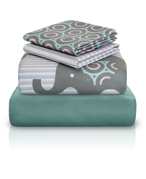 Chital Baby Elephant Print Double-Brushed Microfiber 4 Piece Twin Sheet Set