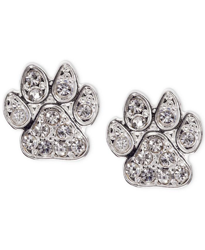 Pet Friends Jewelry - Silver-Tone Pavé Paw Stud Earrings