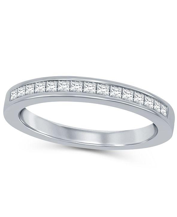 Macy's Princess Cut Diamond (1/3 ct. t.w.) Channel Band in 14K White Gold