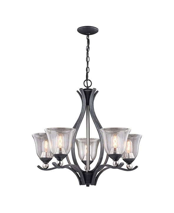 Vaxcel Seville Nickel with Clear Seeded Glass 5 Light Chandelier