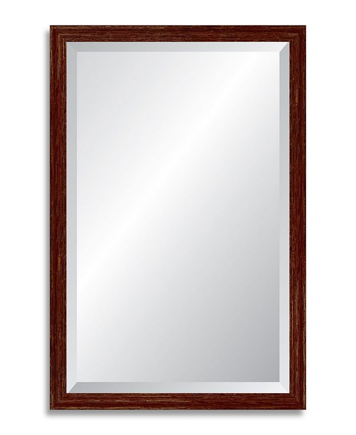 Reveal Frame & Décor - Deep Farmhouse Worn Barn Red Beveled Wall Mirror