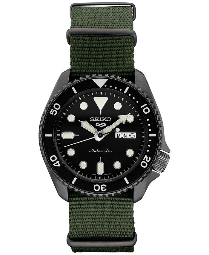 Seiko - Men's Automatic 5 Sports Green Nylon Strap Watch 42.5mm