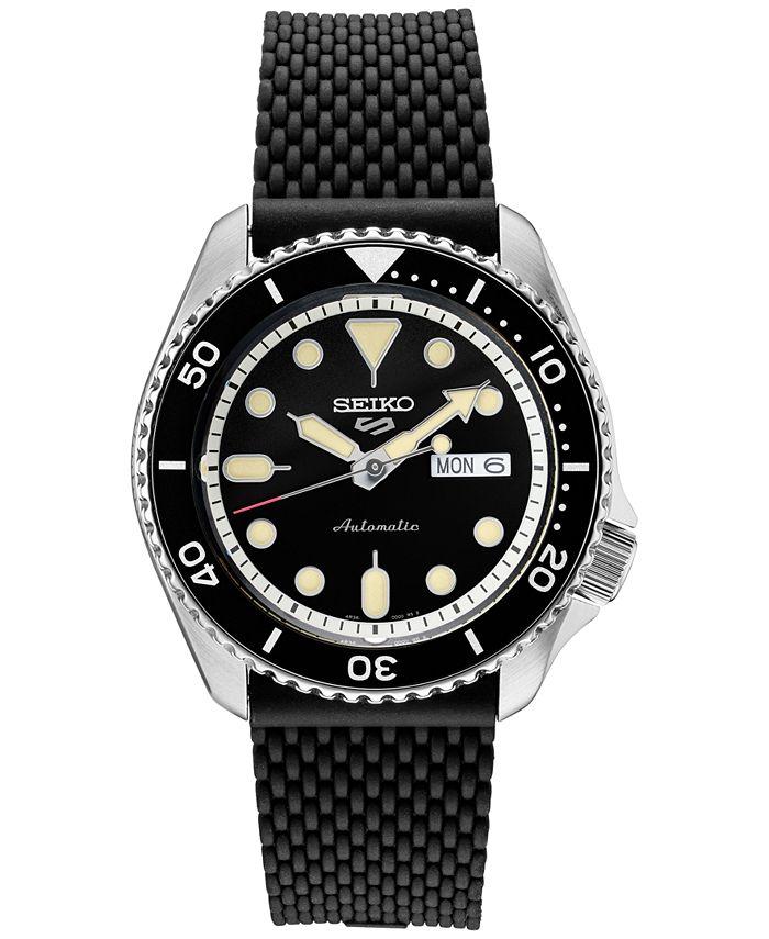 Seiko - Men's Automatic 5 Sports Black Silicone Mesh Strap Watch 42.5mm