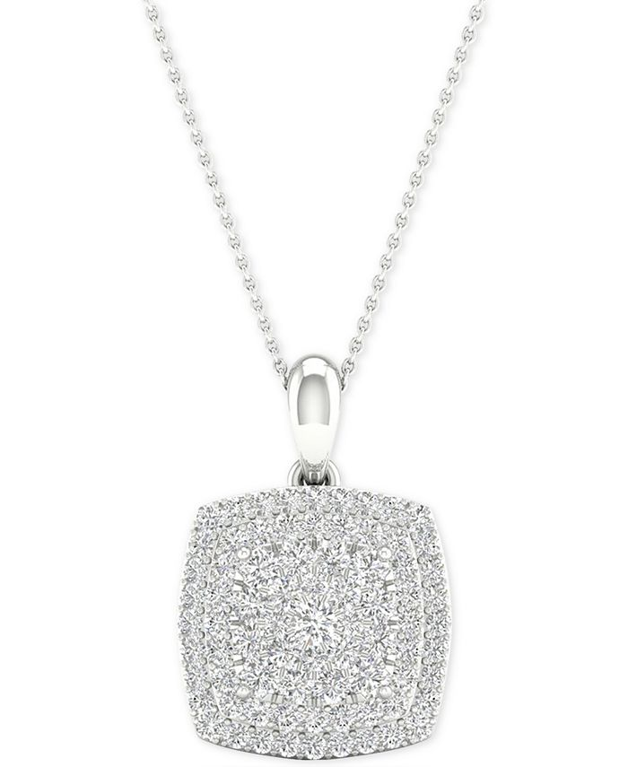 """Macy's - Diamond Square Cluster Pendant Necklace (1/2 ct. t.w.) in Sterling Silver, 16"""" + 2"""" extender"""