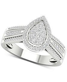 Diamond Teardrop Cluster Statement Ring (1/2 ct. t.w.) in Sterling Silver